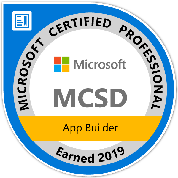 Microsoft Certified Solutions Developer: App Builder — Certified 2019
